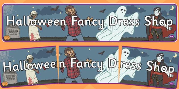 Halloween Fancy Dress Shop Role Play Banner - halloween, fancy dress shop, role play, banner, role play banner, fancy dress shop role play, roleplay