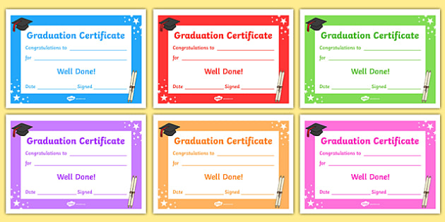 Editable Graduation Certificates  Primary Certificates And