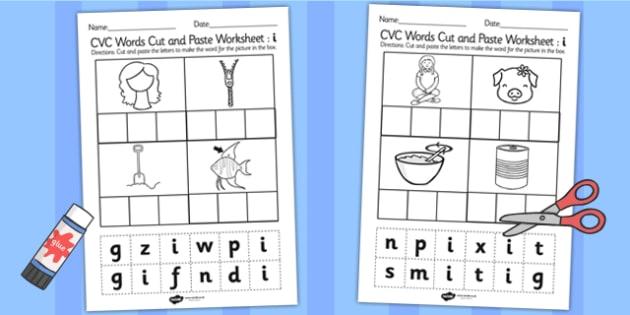 CVC Words Cut and Paste Worksheets i - CVC worksheets, CVC words