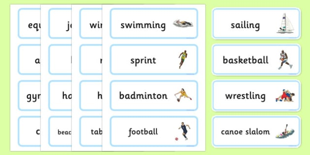 The Olympics Sports Events Word Cards - Olympics, Olympic Games, sports, Olympic, London, 2012, word card, flashcards, cards, Olympic torch, flag, countries, medal, Olympic Rings, mascots, flame, compete, tennis, athlete, swimming, race,