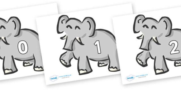 Numbers 0-100 on Elephants - 0-100, foundation stage numeracy, Number recognition, Number flashcards, counting, number frieze, Display numbers, number posters