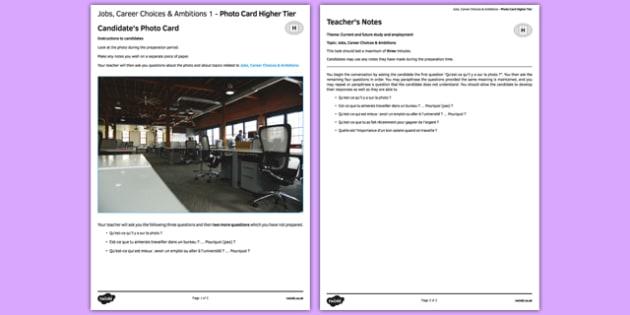 Les métiers & les projets 1 Carte photo Higher Tier -  plans, future, métier, emploi avenir, projets, picture, french, francais, gcse, practice, career  speaking
