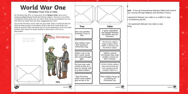 World War One - World War One Christmas Truce True or False Cut and Stick Activity
