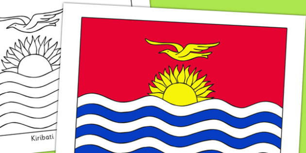Kiribati Flag Display Poster - countries, geography, display