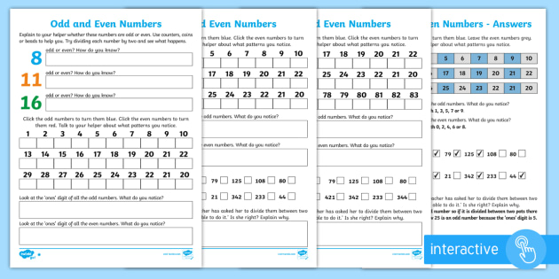 Odd and Even Numbers Resources - KS1 Numbers and the - Page 1