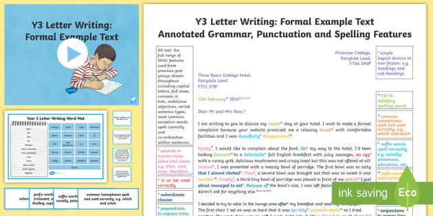 Y3 Letter Writing: Formal Model/Example Text - Example Texts Y3, exemplification, moderating, moderation, wagoll, SATs, fiction, non-fiction, sampl - Example Texts Y3, exemplification, moderating, moderation, wagoll, SATs, fiction, non-fiction, sampl