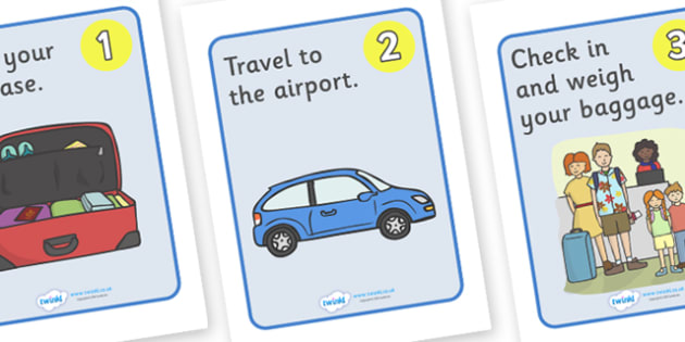 Going on a Plane Journey Sequences Posters - Holidays, holiday, travel, display poster, poster, sign, banner, sequencing, plane journey, agent, booking, plane, flight, hotel