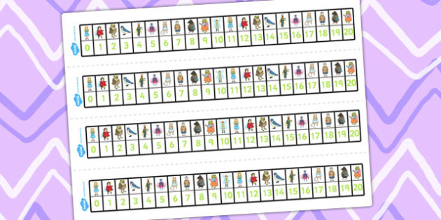 Thumbelina Number Track 0-20 - count, counting aid, counting