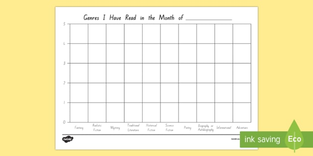 Reading Genres That I Have Read Up to 5 Texts Graph Record - reading, genre, english, literacy, tracking, new zealand, nz