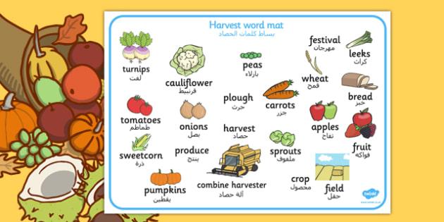 Harvest Word Mat Arabic Translation - arabic, harvest, word mat