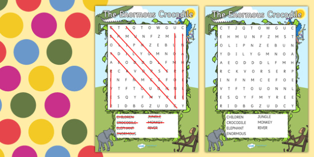 Word Search to Support Teaching on The Enormous Crocodile - the enormous crocodile wordsearch, the enormous crocodile, wordsearch, roald dahl wordsearch