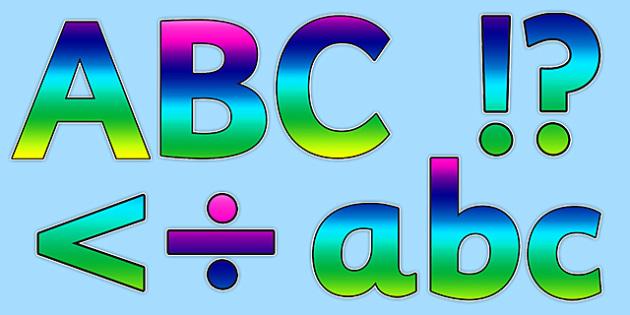 Rainbow Alphabet Display Lettering - rainbow, alaphabet, display, lettering, display lettering, letters, words, display alphabet, lettering for display
