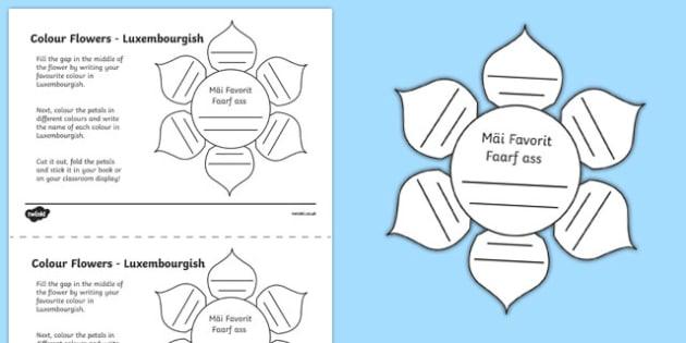 MFL Luxembourgish Colour Flowers Activity Sheet, worksheet