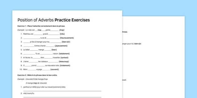 Position of Adverbs Practice Exercises French - french, position of adverbs, practice, exercises