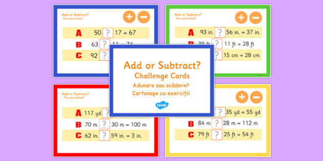 Addition and Subtraction Maths Challenge Cards Romanian Translation - romanian, add, subtract, maths, challenge, cards