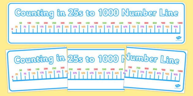Counting in 25s to 1000 Number Line Display Banner - counting, 25, 1000, number line, display banner