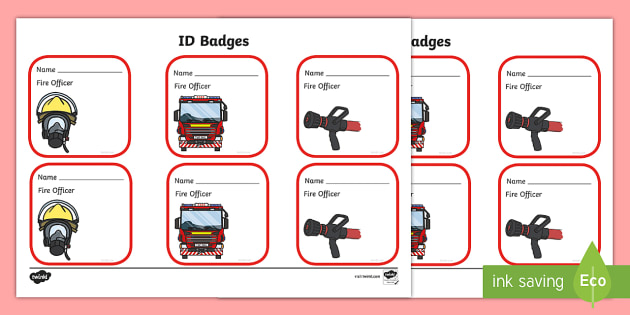 Fire Fighter Role Play Badges - Fire station Role Play, fire station, fire station resources, fire service, fire fighter, fire man, fire engine, people who help us, emergency, fire hose, fireman's pole, helmet, siren, fire, role play, display, poster