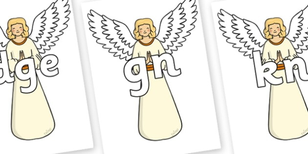 Silent Letters on Christmas Angels - Silent Letters, silent letter, letter blend, consonant, consonants, digraph, trigraph, A-Z letters, literacy, alphabet, letters, alternative sounds