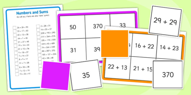 Addition up to 500 Bingo - addition, bingo, game, 500, activity
