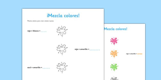 ¡Mezcla colores! Worksheet Spanish Activity Sheet - spanish, colores, colours, worksheet, ficha, mezclar, mix
