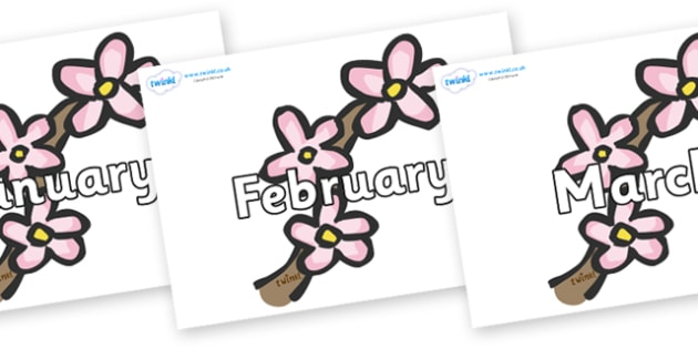 Months of the Year on Blossom - Months of the Year, Months poster, Months display, display, poster, frieze, Months, month, January, February, March, April, May, June, July, August, September