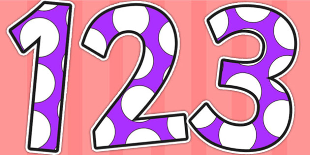 Purple and White Spots Display Numbers - display numbers, purple, white