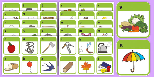 Initial Sound Picture Cards (A-Z) - DfES Letters and Sounds, Letters and sounds, Phase 1, Phase one, Initial sounds cards, Sound picture cards, Phonics