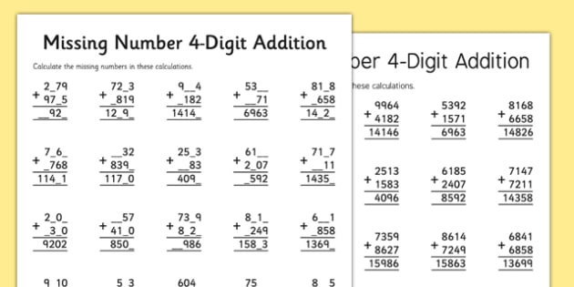 4 Digit Missing Number Addition Activity Sheet - 4 digit, missing number, addition, activity, worksheet