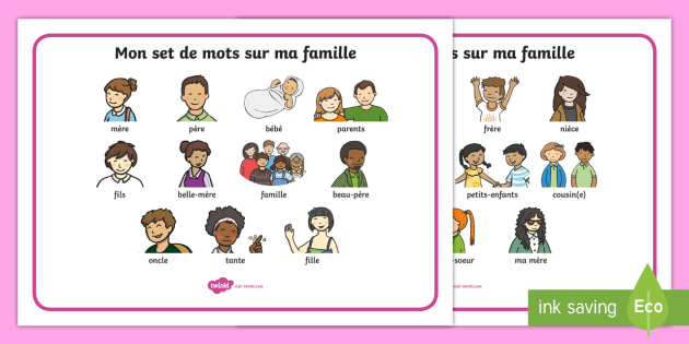 Mon set de mo ts sur ma famille français - En français, la France, la famille, mot mat, word, mat