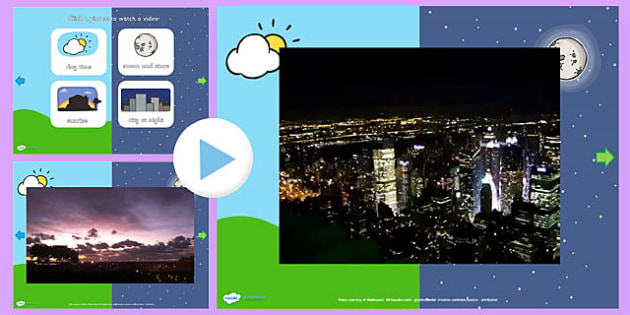 Day and Night Video PowerPoint - day and night, day, night, day and night powerpoint, day and night videos, day video powerpoint, night video powerpoint