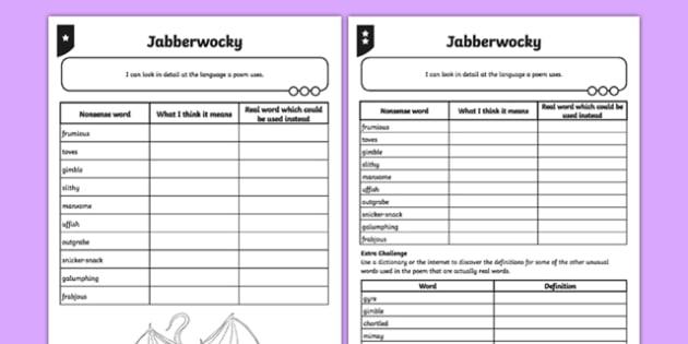 PlanIt Y5 Animals: Jabberwocky Activity Sheet, worksheet