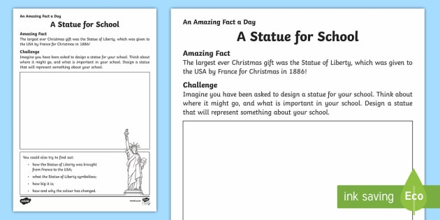 A Statue for School Activity Sheet - Amazing Fact Of The Day, activity sheets, powerpoint, starter, morning activity, December, statue, S