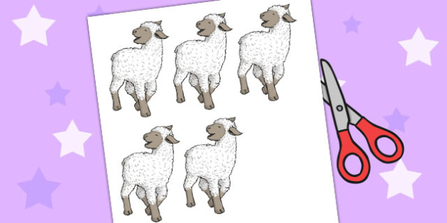 Five Little Woolly Lambs Counting Song Cut Outs - counting, song