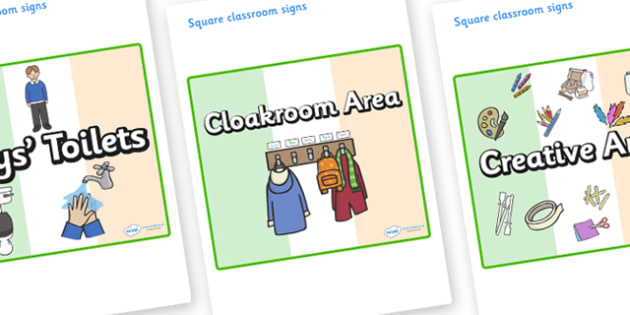Ireland Themed Editable Square Classroom Area Signs (Plain) - Themed Classroom Area Signs, KS1, Banner, Foundation Stage Area Signs, Classroom labels, Area labels, Area Signs, Classroom Areas, Poster, Display, Areas