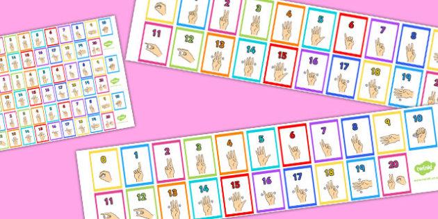 British Sign Language 0-20 Number Strips - number, strips, sign
