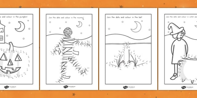 Halloween Dot To Dot Activity Sheets - halloween, halloween dot to dot, halloween dot-to-dot, festivals, celebrations, autumn, activities, games, wet play, worksheet