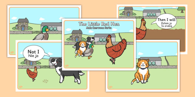 The little Red Hen Story Sequencing with Speech Bubbles Polish Translation - polish, story, sequencing