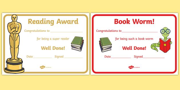 Editable Reading Award Certificates - Editable Reading Award Certificates, reading, read, books, editable, book, certificates, award, well done, reward, medal, rewards, school, general, certificate, achievement
