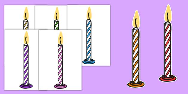Editable A4 Multicoloured Candles Stripes - editable, image, editable image, striped candles, candles, candles for display, display candles, striped display candles, editable picture, editable display image, display, display picture