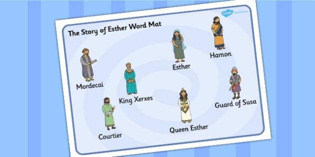 The Story of Esther Bible Story Word Mat - mats, literacy, visual