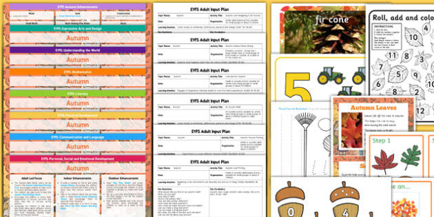 EYFS Autumn Themed Lesson Plan Enhancement Ideas and Resources Pack - seasonal, early years, plane, theme, reources, pack, display, activities, work, sheets, inspiration, planning