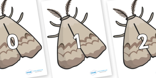 Numbers 0-31 on Moths - 0-31, foundation stage numeracy, Number recognition, Number flashcards, counting, number frieze, Display numbers, number posters