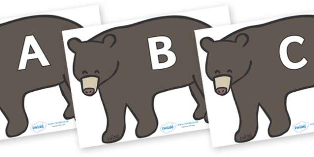 A-Z Alphabet on Grizzly Bears - A-Z, A4, display, Alphabet frieze, Display letters, Letter posters, A-Z letters, Alphabet flashcards