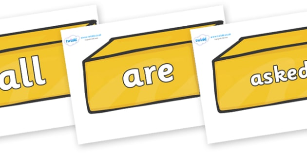Tricky Words on Gold Bars - Tricky words, DfES Letters and Sounds, Letters and sounds, display, words