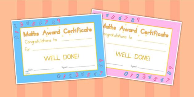 Maths Award Certificate - maths, numeracy, awards, certificates