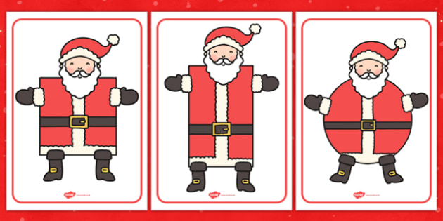Santa Shape Categorising - shape, categorise, santa, activity