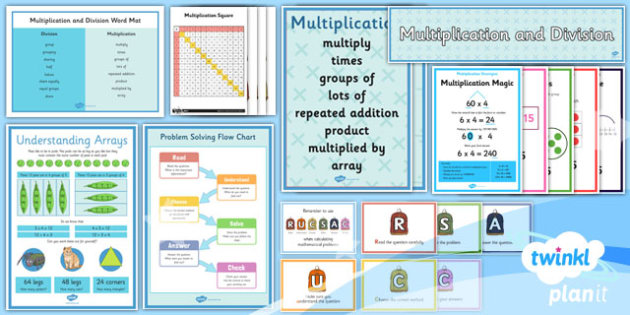PlanIt Y3 Multiplication and Division Display Pack - written methods, calculation methods, bus stop method, grid method, smile multiplication, multiplication magic, array, multiplication and division, display