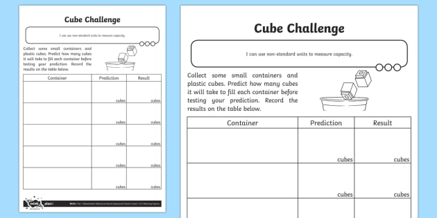 Cubes Challenge Activity Sheet - Measurement, non-standard units, measure, capacity, volume, worksheet, measuring