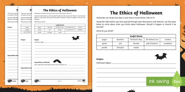 The Ethics of Halloween Differentiated Activity Sheets, worksheet