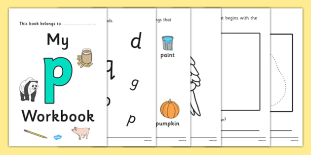 My Workbook p lowercase - workbook, p sound, lowercase, letters, alphabet, activity, handwriting, writing
